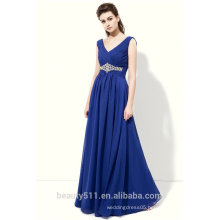 Elegant A-line V-neck Sleeveless Floor-length Long Tulle Women Long Party Large Size Evening Dresses Gown China ED554