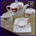 P&T porcelain square shape dinnerware flower design porcelain dinnerware