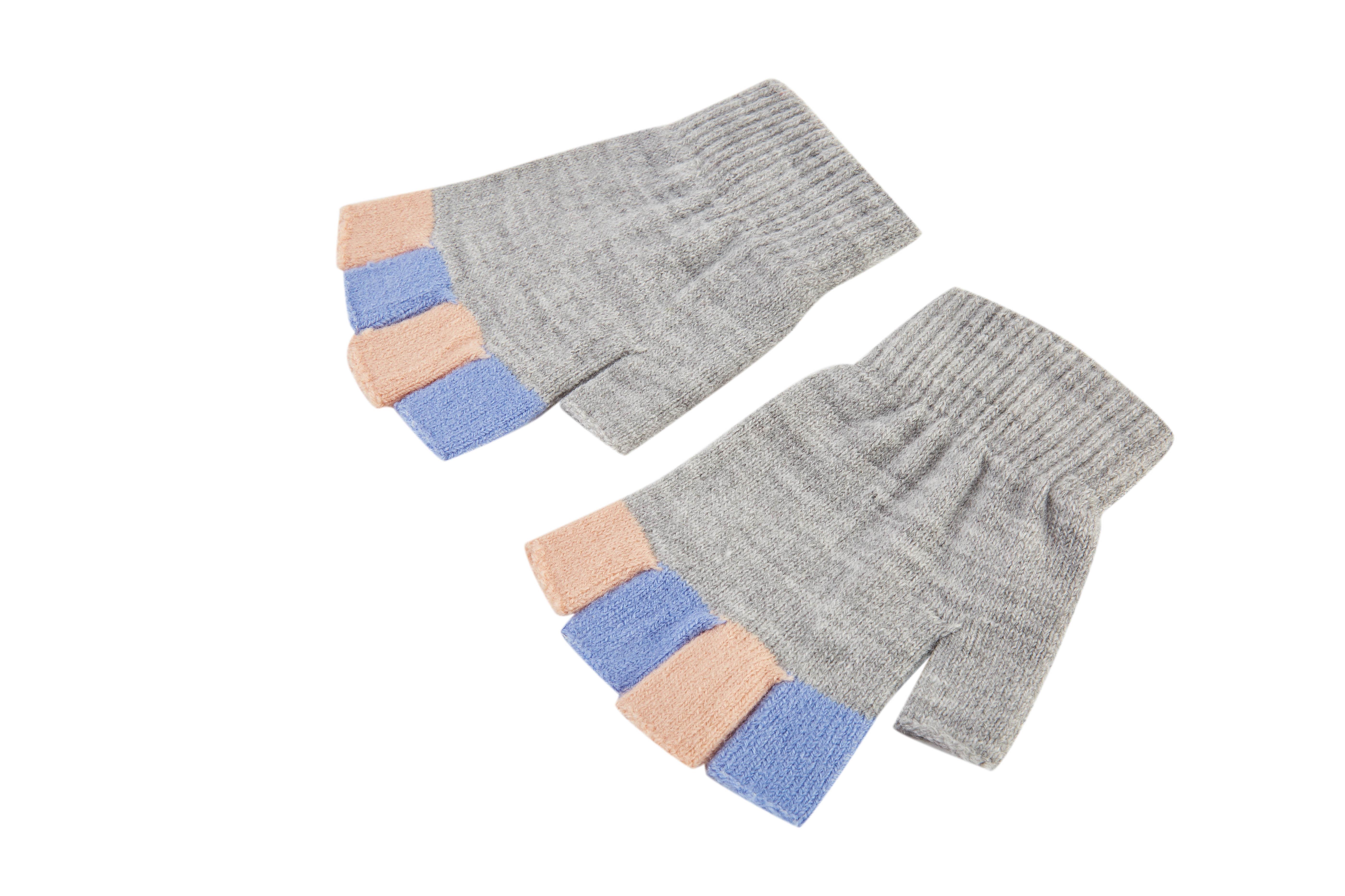 Kids' Fingerless Gloves Student Winter Knit Mittens