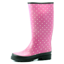 Dark Pink Base With White Dot Rain Boots For Women