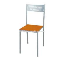 Простой металлический каркасный стул, стальная трубчатая спинка Обеденный стул для отеля