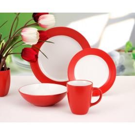 Red ceramic hot sale style tableware set