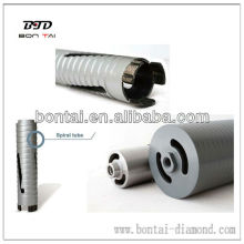 Laser welded spiral dry drill core bits