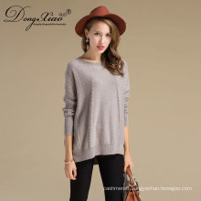 Wholesale Big Knit Crew Neck Wool Sweater For Lady Womens Pullover