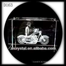 K9 3D Laser geätzt Motorrad in Crystal Rechteck