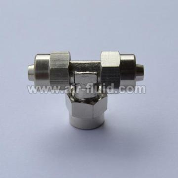 Equal Tee Connector Nickel Plated Brass Rapid Push-over Tubing Fittings