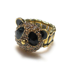 Hot selling high fashion alloy crystal chinese panda stretch ring,zinc alloy metal fashion jewelry wholesaler
