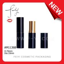 Elegant Black Round Empty Custom Aluminium Lipstick Case