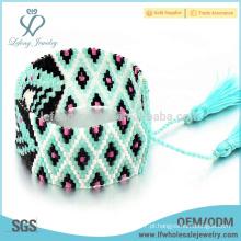 Handmade tecidos de sementes pulseira jóias pulseira, pulseiras Bohemia franja