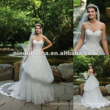 Vestido de noiva de coração doce com vestido de casamento de renda de renda