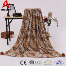 2018 new design super soft brushed and printed knitted fur pv fleece blanket