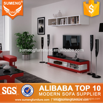 simple stylish red color tv stand modern glass television stand