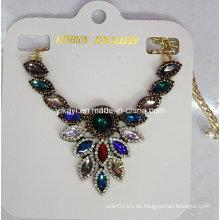 Lady Fashion Bunte Glas Kristall Anhänger Halskette Modeschmuck (JE0209)
