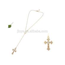 Handgemachte lange Chian Black Agated Perlen Rosenkranz Kreuz Halskette