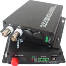 Datos de RS232 / 485/422 Opcional 1/2/4/8/16/32 Canal Transmisor de vídeo óptico / HDMI Video Optical Converter