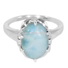 Dernier anneau en argent massif Larimar Gemstone 925