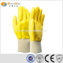 Knit wrist yellow pu coated gloves