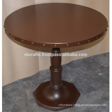 Industrial Cast Iron Metal Riveted Round Top Table