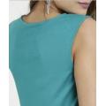 Nouveau design chemisier sans manches à col en V tops amples