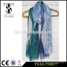 Écharpe en polyester teinté léger, voile simple, fabrication de porcelaine de bonne qualité
