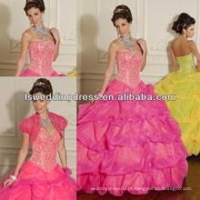 HQ2017 Sweetheart com contas de decote vestido de bola sem alças vestidos de quinceanera amarela