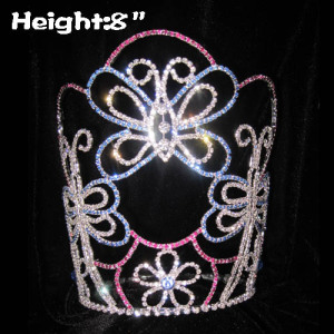 8in Height Wholesale Crystal Butterfly Princess Crowns