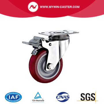 Braked Plate Swivel PU Stainless steel Caster
