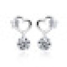 Women′s Fashion 925 Sterling Silver Butterfly Kisses Crystal Earrings