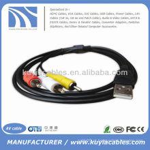Novo 5 pés 1.5M USB Um macho para 3 RCA 3RCA Vídeo Áudio Dados AV TV Adaptador Cabo Cabo