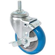 Threaded Stem PU Caster with Side Brake (Blue)