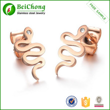 New Arrial Fashion Rose Gold Snake Shape Stud Earring