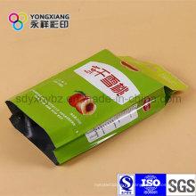 Tamaño personalizado Gusset de lado Fruta seca paquete de alimentos de plástico
