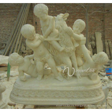 Large garden decoraion stone carvings and sculptures marble life size lively outdoor children garden statues