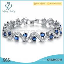 Pulseiras de prata da platina das mulheres, bracelete do chapeamento de cobre para senhoras