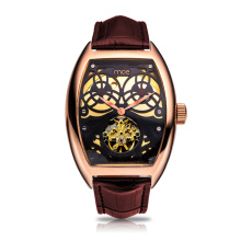 low cost pu leather gift set mechanical wrist watch