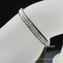 Hotsale Cheap Handmade Ribbon bracelet with rhinestone