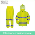 Yj-6047 Packable Green Yellow Motorcycle Safety Rain Suit Coat Jacket