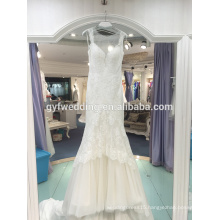 Gorgeous European and American wind lace real sample deep V neck neck quilt sexy lace lace mermaid wedding dress LJ-10016