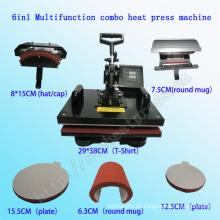 6 en 1 Multifunción Digital Combo Calor Prensa Máquina Multifunción Combo Camiseta Máquina de Impresión Stc-SD08