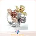 Elegant Flower Ring pour Lady Gift Bijoux fantaisie Bijoux en argent sterling R10502