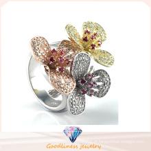 Anel elegante da flor para a jóia da forma do presente da senhora Anel quente da jóia da prata da venda R10502