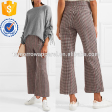 Houndstooth Wool-blend Cropped Flared Pants Manufacture Wholesale Fashion Women Apparel (TA3013P)