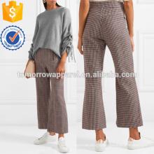 Хаундстут шерсти смесь укороченные Расклешенные брюки Производство Оптовая продажа женской одежды (TA3013P)