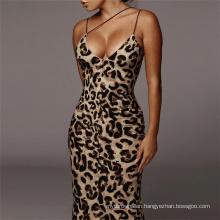 40-C4221  summer dress sexy womens 2020 apparel bodycon dress sexy leopard snake print long dress