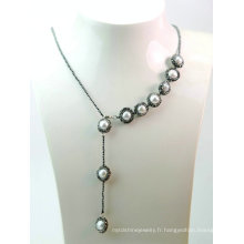 Bijoux fantaisie Collier baroque Pearl Hematite pour Lady Evening Party