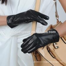 3 boutons de gants en cuir véritable en cuir noir