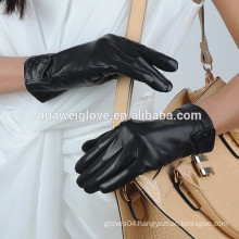 3 button designed black real leather gloves