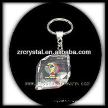 Keychain en cristal de LED avec l'image gravée par laser 3D à l'intérieur et le keychain en cristal blanc G024