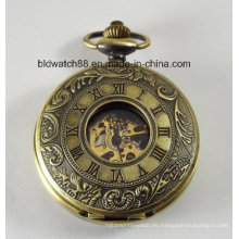 Reloj de bolsillo mecánico personalizado Bronce grabado doble cubierta de polvo