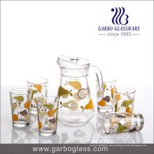 Hotselling Vidro Drinking Set com Impressão Fansion